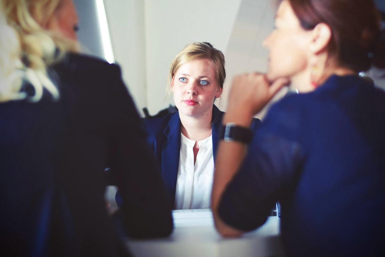 woman in interview looking worried